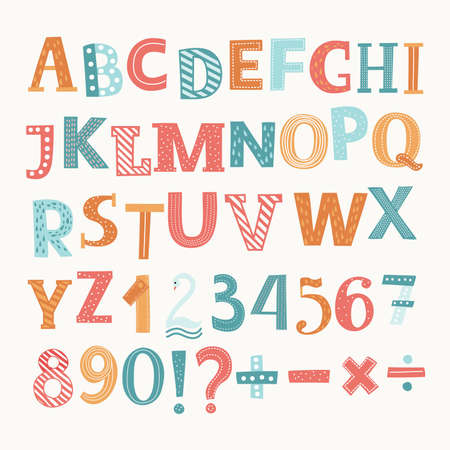 Illustration pour Cute colorful vector English alphabet and numbers. Division, addition, sign, minus sign - image libre de droit