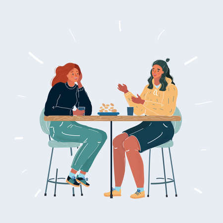 Illustration pour Illustration of two woman at table on white background. Meeting friends or girlfriends on white background. - image libre de droit