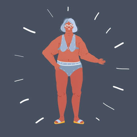 Illustration pour illustration of P smiling senior woman in swimwear on dark background. - image libre de droit