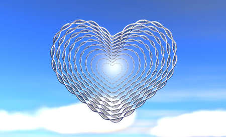 DNA of love on blue