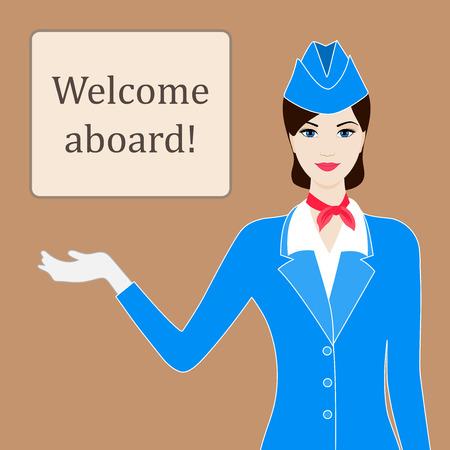 Ilustración de Illustration of stewardess welcoming for flight with space for text - Imagen libre de derechos