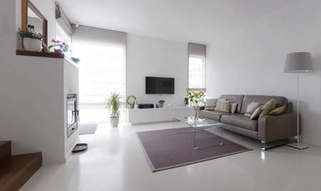 Foto de White living room with taupe leather sofa and glass table - Imagen libre de derechos