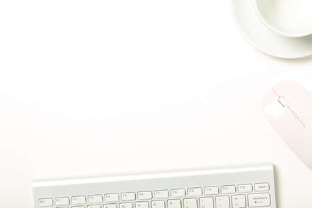 Photo for keyboard, mouse and cup on white office desk with copy space - Royalty Free Image