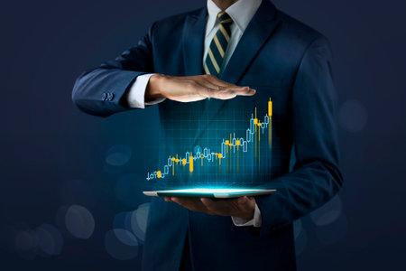 Photo pour Business growth, progress or success concept. Businessman is showing a growing virtual hologram stock on dark tone background. - image libre de droit