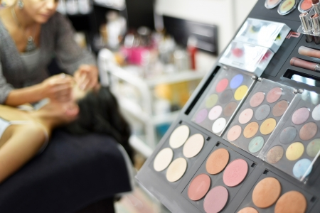 Makeup palette during the makeup sessionの写真素材