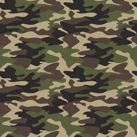 Ilustración de Camouflage pattern background seamless vector illustration. Classic clothing style masking camo repeat print. Green brown black olive colors forest texture - Imagen libre de derechos