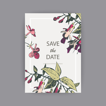 Illustration pour Botanical wedding invitation card template design, hand drawn fuchsia pink flowers and leaves, pastel vintage rural theme with square frame on white background, minimalist vintage style - image libre de droit
