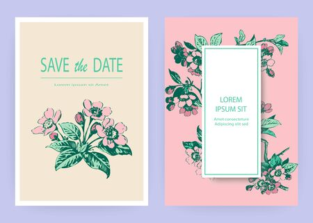 Illustration for Hand drawn sakura pink blossom flowers and leaves on branches on white background, vintage style pastel color vector illustration, Botanical drawing cherry wedding invitation card, template design - Royalty Free Image