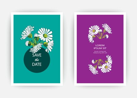 Illustration pour Hand drawn close-up Chrysanthemum flower artistic vector illustration. Botanical wedding ornament. Petals painted in white. Floral trendy pattern Greeting card invitation on blue purple backgrounds - image libre de droit