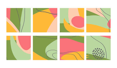 Illustration pour Set of fun hand drawn colorful shapes, doodle objects, lines and dots collage, modern trendy abstract pattern background for design banners. Green yellow pink pastel colors. Vector illustrations - image libre de droit