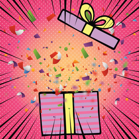Opened birthday gift box with bow ribbon and colorful confetti in comic style