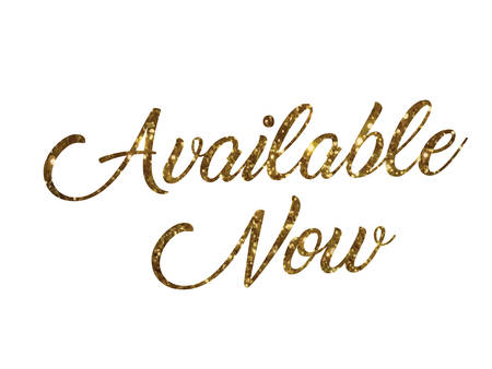 The golden glitter of isolated hand writing word AVAILABLE NOW on white background