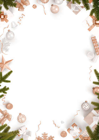 Foto per New Year decoration border and white background - Immagine Royalty Free