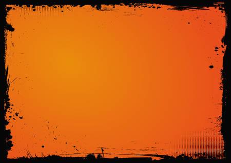 Illustration pour The horizontal Halloween blank gradient orange background with black grunge border - image libre de droit