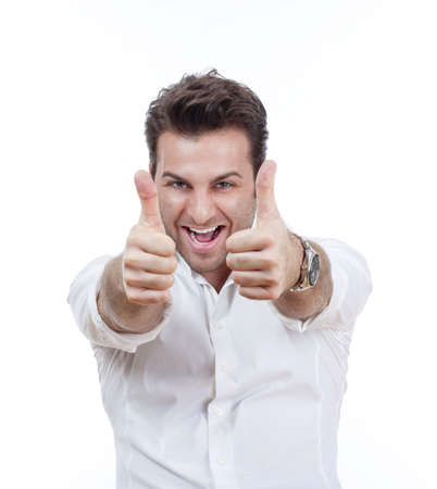 excited man laughing holding his both thumbs up - isolated on white