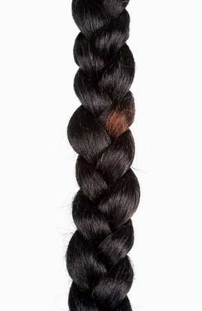 Braid of Artificial Hair Isolated on White Background.