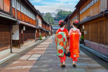Photo for Japanese Geisha at Higashi-Chaya-gai - Geisha District in Kanazawa, Japan  KANAZAWA, JAPAN - NOVEMBER 22 2015: Unidentified Japanese Geisha at Higashi-Chaya-gai - Geisha district - Royalty Free Image