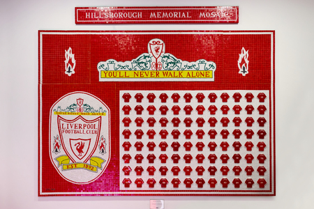 LIVERPOOL, UNITED KINGDOM - MAY 17 2018: Hills Borough memorial Mosiac at Liverpool Story Museum displays the name of the 96 victims who died in the Hillsborough disaster during the1988-1989 FA Cuup semi-final game