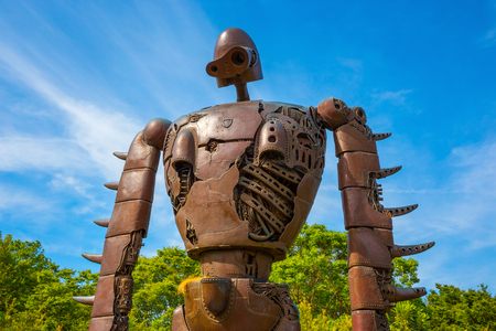 Tokyo, Japan - April 29 2018: Statue of the robot from the Studio Ghibli film 'Laputa: Castle in the Sky' at Ghibli museum