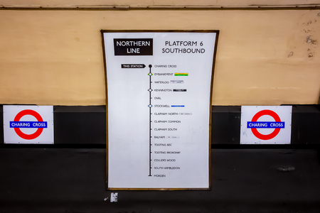 London, UK - May 13 2018: The London Underground opened in 1863. It's a public rapid transit system serving London, the network has expanded to 11 lines, and in 2016–17 carried 1.379 billion passengers