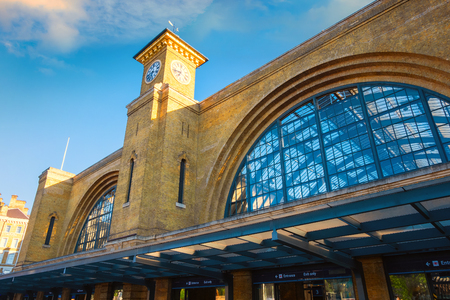 London, UK - May 14 2018: King's Cross railway station  is a Central London railway terminus on the northern edge of the city. It is one of the busiest railway stations in the United Kingdom