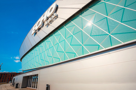 Liverpool, UK - May 17 2018: The M&S Bank Arena (previously Echo Arena Liverpool) is a multi-purpose indoor arena in the city centre of Liverpool