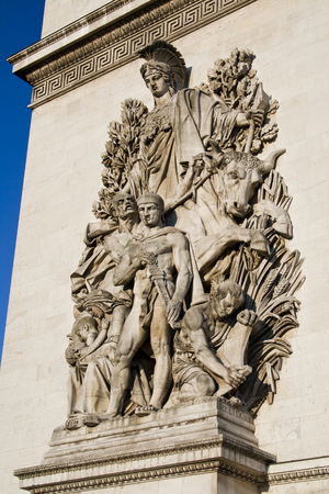Close up detail of La Paix de 1815, sculpture on the base of the Arc de Triomphe in Paris, France