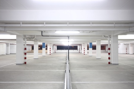 indoor carpark atnight in wode angle