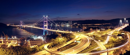 highway bridge at night in hong kong