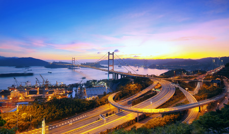 Sunset at Tsing Ma Bridge , hong kong landmark