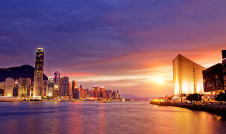 Photo for Beautiful HongKong cityscape at sunset, Hong kong city. - Royalty Free Image
