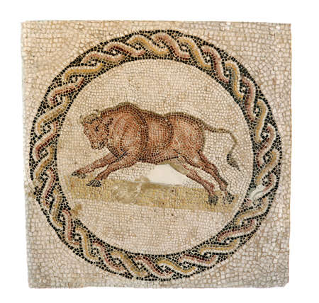 Early 3rd century AD mosaic from a Roman funeral monument  The bull evokes the animal form of the god Dionysus
