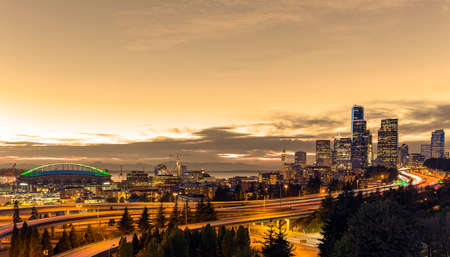 Seattle at dusk with warming filter
