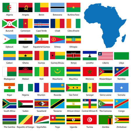 Detailed African flags and map manually traced from public domain map