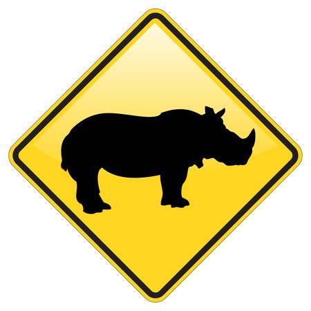 Ilustración de Rhino Warning Sign With Glossy Effect - Imagen libre de derechos