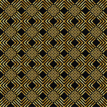 Illustration pour seamless rich geometrical pattern luxury gentle collection of golden minimalistic elements on dark royal gray background. endless vector illustration for packaging design textile wrapping paper cards gift boxes - image libre de droit