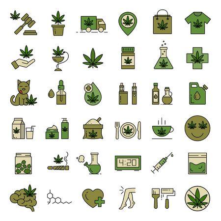 Ilustración de Marijuana icons. Set of medical cannabis icons. Drug consumption. Marijuana Legalization. Isolated vector illustration on white background. - Imagen libre de derechos