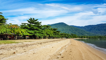 Beach and Golden Sand Scene Paraty Brazil. Very much one of the main tourist attractions and points of interest in the area.