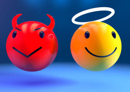Photo for 3d render of an angel and a devil emoji side by side on a blue background - Royalty Free Image