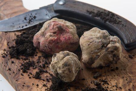 Photo pour Alba white truffle tuber on wood board and truffle's knife - image libre de droit
