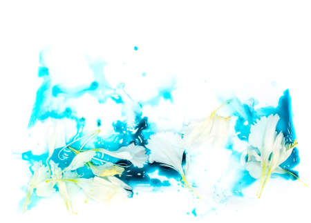 Foto de Tender tiny white flower petals floating in blue cyan aquamarine watercolor paint. Valentines day card, invitation, wedding decor, natural botanic cosmetics packaging or website leader board banner - Imagen libre de derechos