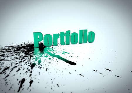 Portfolio lettering with ink splatter