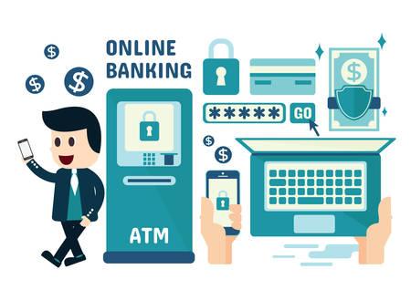 Illustration pour Online Banking Infographics, Flat Design - image libre de droit