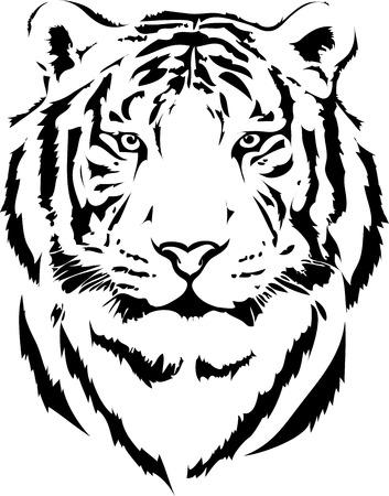 Illustration pour tiger head in black interpretation 2 - image libre de droit