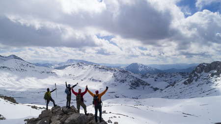 crazy people in the mountains, passionate, happy and pleasant