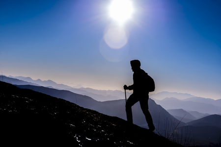 Photo pour active activity of a courageous leader climber - image libre de droit