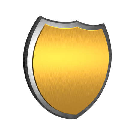 Golden 3d shield isolated on a white background