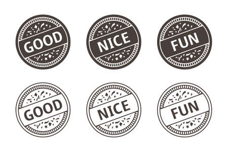 Illustration pour good, nice, fun stamp vector illustration icon set - image libre de droit