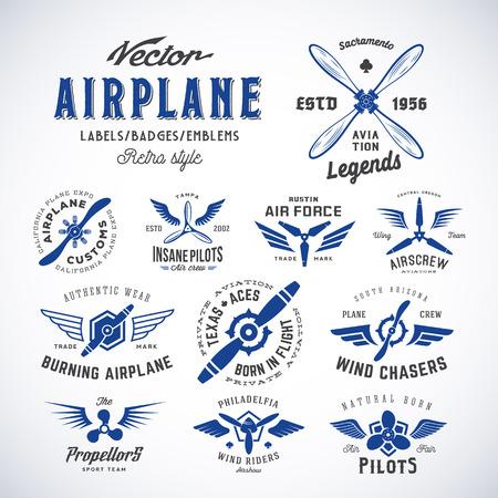 Ilustración de Vintage Vector Airplane Labels Set with Retro Typography. Isolated. - Imagen libre de derechos