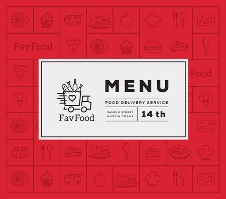 Illustration pour Favorite Food Delivery Abstract Vector Logo And Menu Cover with Line Style Icon Pattern. Good for Restaurant or Fast Food, etc. - image libre de droit